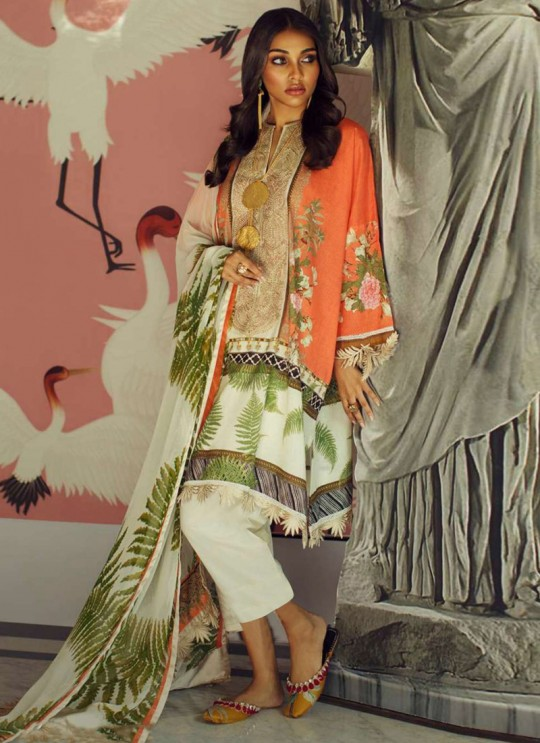 Orange Jam Silk Designer Pakistani Suit Sana Safinaz Vol 4 By Kilruba With Cotton Dupatta 32002