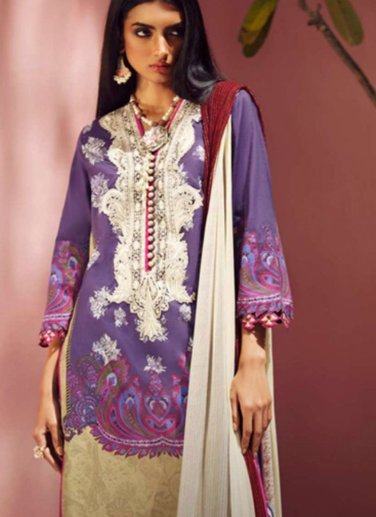 Purple Jam Silk Designer Pakistani Suit Sana Safinaz Vol 4 By Kilruba With Chiffon Dupatta 32001