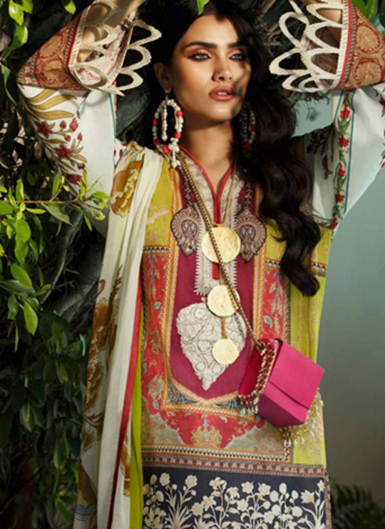Yellow Jam Silk Designer Pakistani Suit Sana Safinaz Vol 4 By Kilruba With Cotton Dupatta 32004