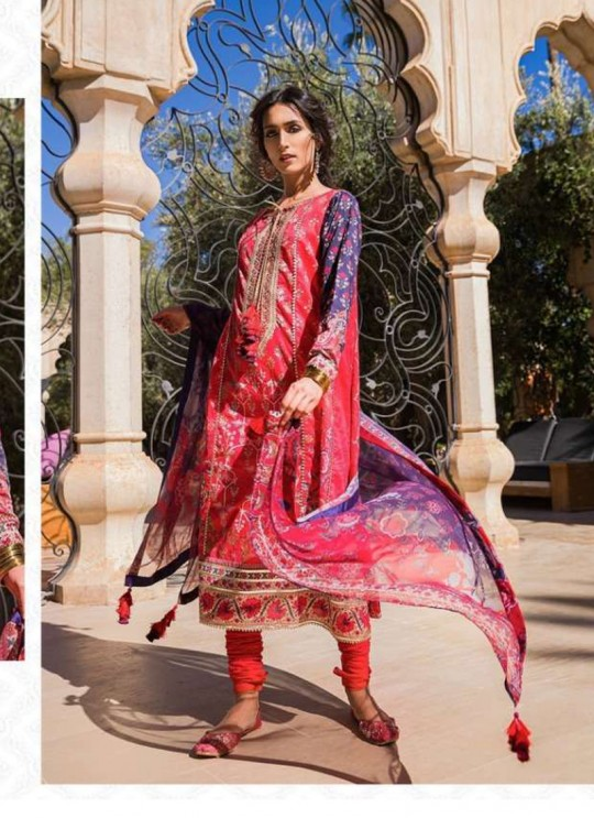 Red Lawn Eid Wear Pakistani Suit Sobia Nazir Embroidery Collection 27005 By Kilruba