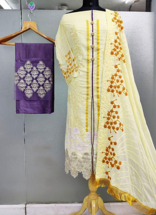 Yellow Faux Georgette  Pakistani Suits Jannat Zq 9001 Set By Kilruba SC/016342