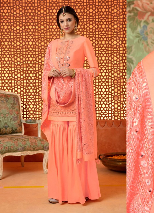 91f168bbbf Indian Dresses Online Peach Silk Sharara Suit Kimora 1 K-007 By ...
