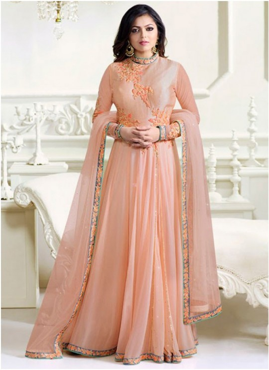 Drashti Dhami Peach Embroidered Wedding Wear Floor Length Anarkali Nitya Vol 102 1203 By LT Fabrics SC/010594