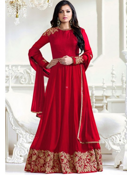 Drashti Dhami Red Embroidered Wedding Wear Floor Length Anarkali Nitya Vol 102 1201 By LT Fabrics SC/010412