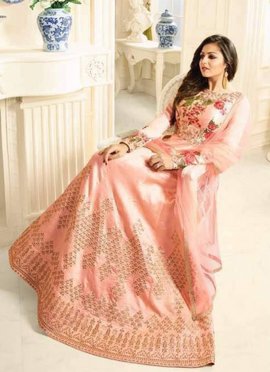 Drashti Dhami Peach Embroidered Wedding Wear Floor Length Anarkali Nitya Vol 104 1406 By LT Fabrics SC/005017