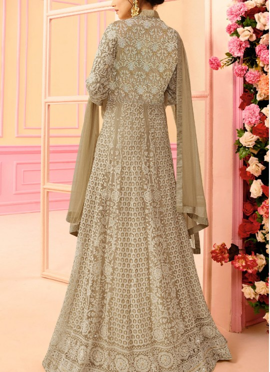 Beige Net Floor Length Anarkali Nitya Vol-122 2201 By Lt Fabrics