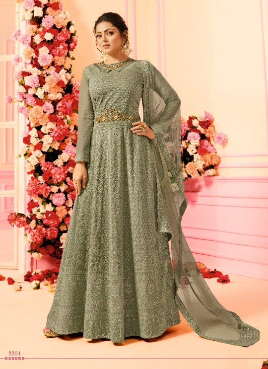 Green Georgette Floor Length Anarkali Nitya Vol-122 2204 By Lt Fabrics