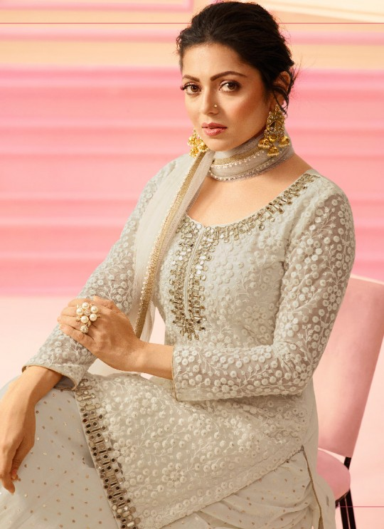 Off White Net Sharara Kameez Nitya Vol-122 2207 By Lt Fabrics