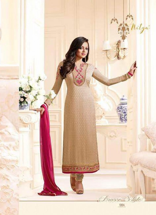Drashti Dhami Beige Embroidered Festival Wear Straight Suits Nitya Vol 103 1304 Set By LT Fabrics  SC/004037