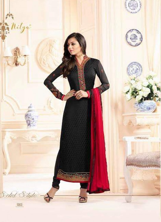 Drashti Dhami Black Embroidered Festival Wear Straight Suits Nitya Vol 103 1303 Set By LT Fabrics  SC/004037