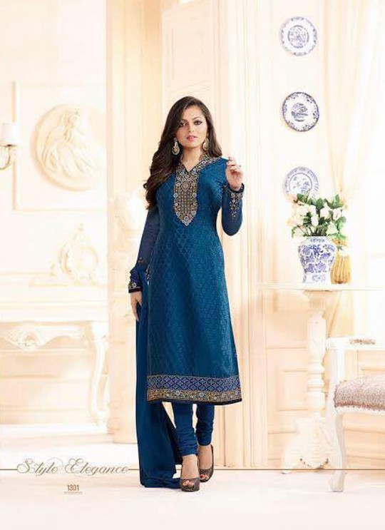 Drashti Dhami Blue Embroidered Festival Wear Straight Suits Nitya Vol 103 1301 Set By LT Fabrics  SC/004037