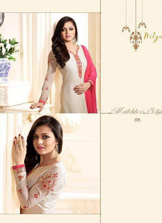 Drashti Dhami Cream Embroidered Festival Wear Straight Suits Nitya Vol 103 1306 Set By LT Fabrics  SC/004037