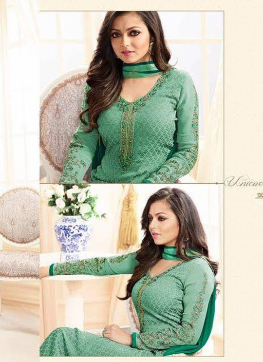 Drashti Dhami Green Embroidered Festival Wear Straight Suits Nitya Vol 103 1308 Set By LT Fabrics  SC/004037