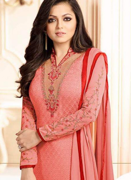 Drashti Dhami Peach Embroidered Festival Wear Straight Suits Nitya Vol 103 1309 Set By LT Fabrics  SC/004037