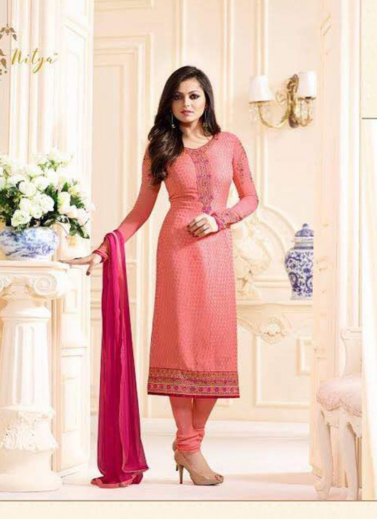 Drashti Dhami Pink Embroidered Festival Wear Straight Suits Nitya Vol 103 1302 Set By LT Fabrics  SC/004037