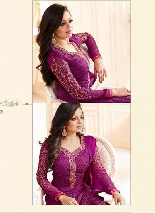 Drashti Dhami Purple Embroidered Festival Wear Straight Suits Nitya Vol 103 1305 Set By LT Fabrics  SC/004037