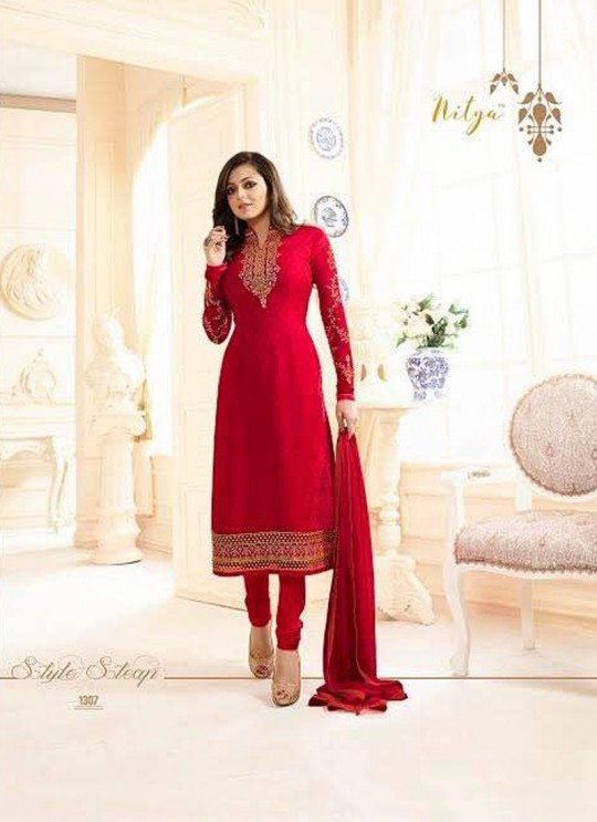 Drashti Dhami Red Embroidered Festival Wear Straight Suits Nitya Vol 103 1307 Set By LT Fabrics  SC/004037