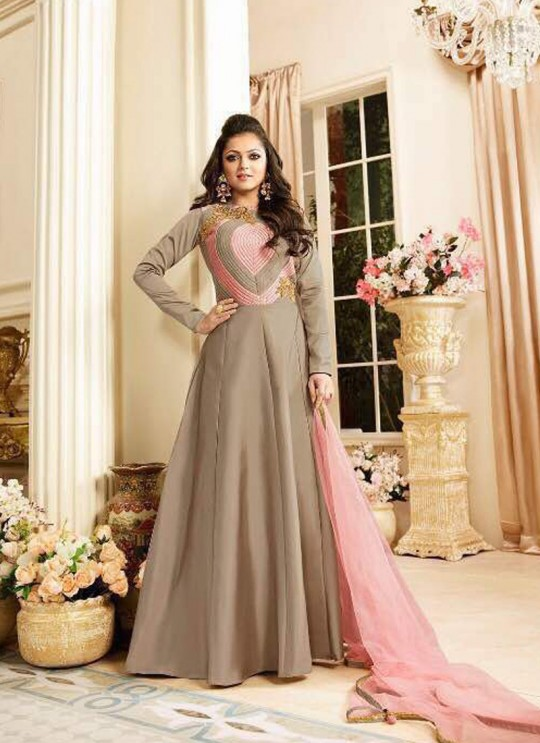 Drashti Dhami Beige Embroidered Wedding Wear Gown Style Anarkali Nitya Vol 106 1602 By LT Fabrics SC/010597
