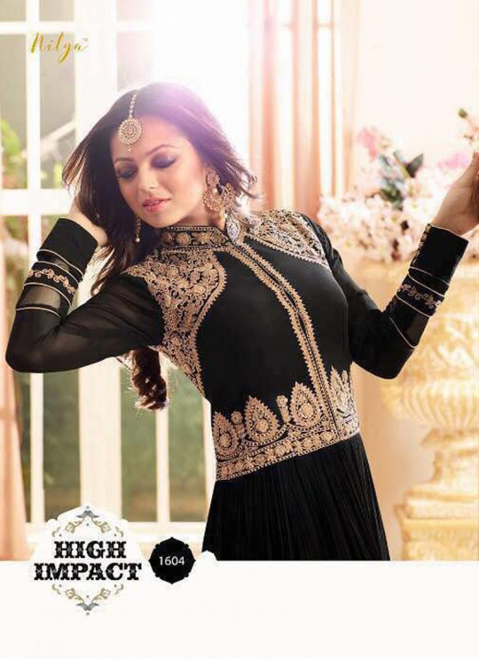 Drashti Dhami Black Embroidered Wedding Wear Floor Length Anarkali Nitya Vol 106 1604 By LT Fabrics  SC/010617