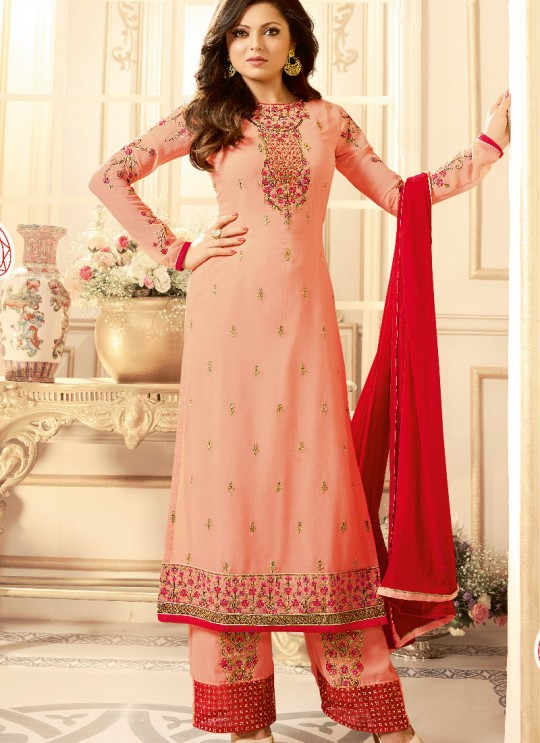 Peach Faux Georgette Pant Style Suit Nitya Vol 108 1801 By Lt Fabrics