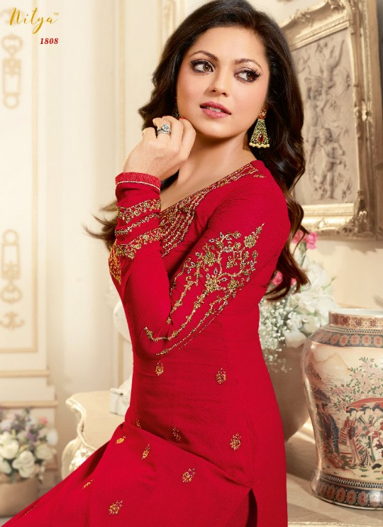 Red Faux Georgette Pant Style Suit Nitya Vol 108 1808 By Lt Fabrics