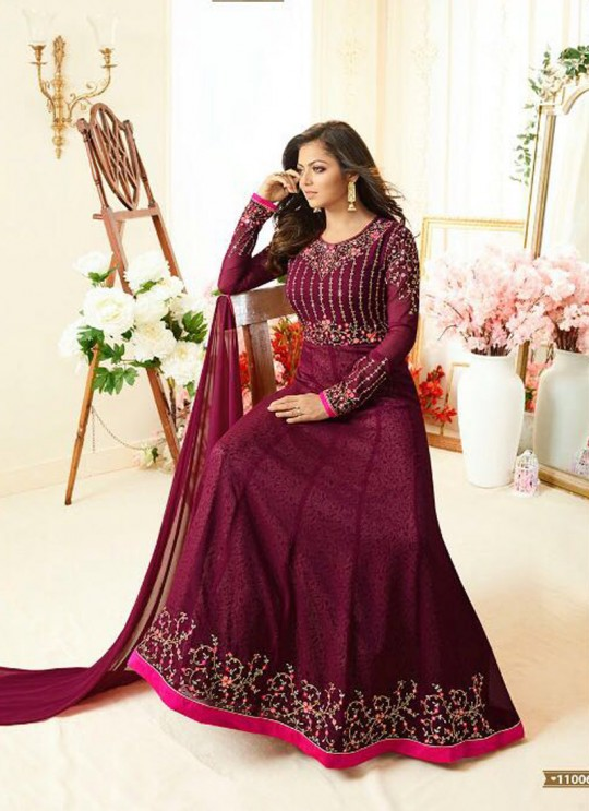 Drashti Dhami Magenta Embroidered Wedding Wear Floor Length Anarkali Nitya Vol 110 11006 By LT Fabrics SC/006205