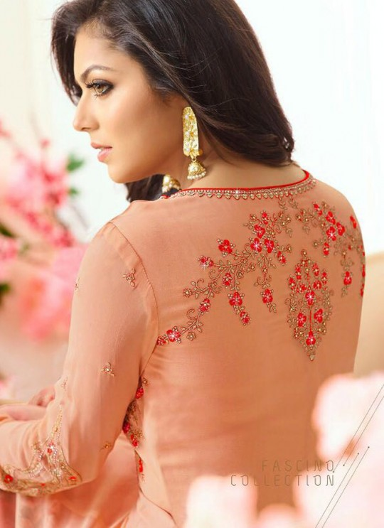 Drashti Dhami Peach Embroidered Wedding Wear Floor Length Anarkali Nitya Vol 110 11005 By LT Fabrics  SC/006204