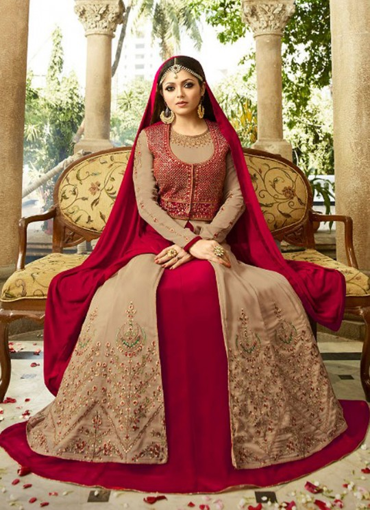Drashti Dhami Beige Embroidered Wedding Wear Floor Length Anarkali Nitya Vol 113 2301 By LT Fabrics SC/009001