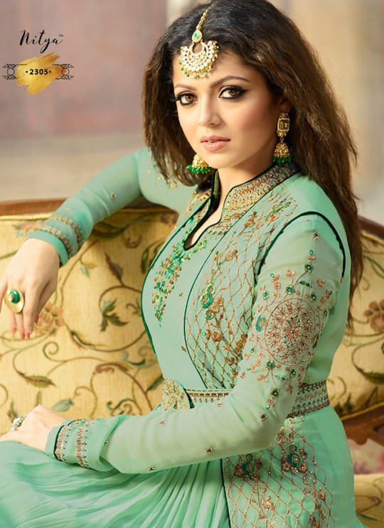 Drashti Dhami Green Embroidered Wedding Wear Floor Length Anarkali Nitya Vol 113 2305 By LT Fabrics SC/009005
