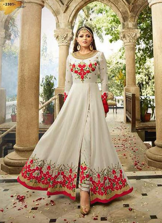 Drashti Dhami Off White Embroidered Wedding Wear Floor Length Anarkali Nitya Vol 113 2308 By LT Fabrics  SC/009008