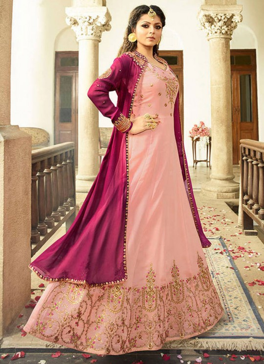 Drashti Dhami Pink Embroidered Wedding Wear Floor Length Anarkali Nitya Vol 113 2303 By LT Fabrics SC/009003
