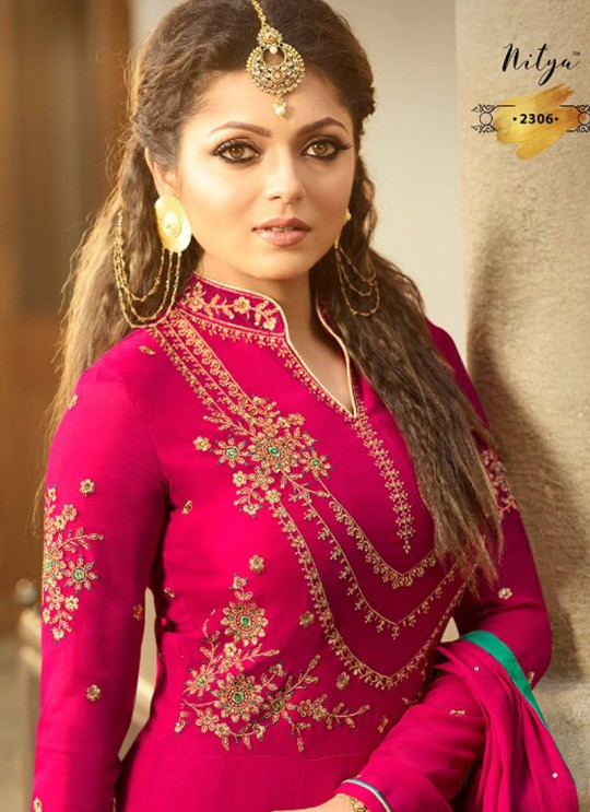 Drashti Dhami Pink Embroidered Wedding Wear Floor Length Anarkali Nitya Vol 113 2306 By LT Fabrics SC/009006