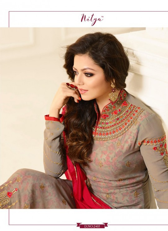 Drashti Dhami Beige Embroidered Party Wear Churidar Suits Nitya Vol 114 2405 By LT Fabrics  SC/009134