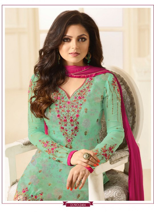 Drashti Dhami Sea Green Embroidered Party Wear Churidar Suits Nitya Vol 114 2404 By LT Fabrics SC/009133