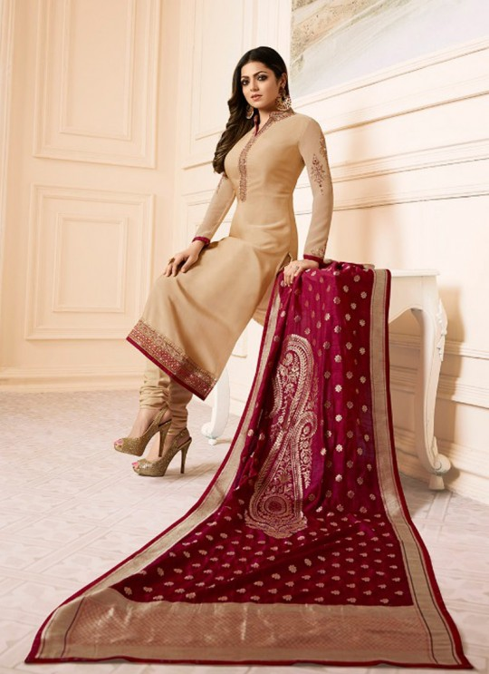 Drashti Dhami Beige Embroidered Wedding Wear Churidar Suits Nitya Vol-120 2008 By LT Fabrics SC/009977