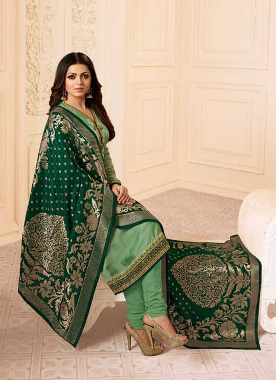 Drashti Dhami Green Embroidered Wedding Wear Churidar Suits Nitya Vol-120 2003 By LT Fabrics SC/009972