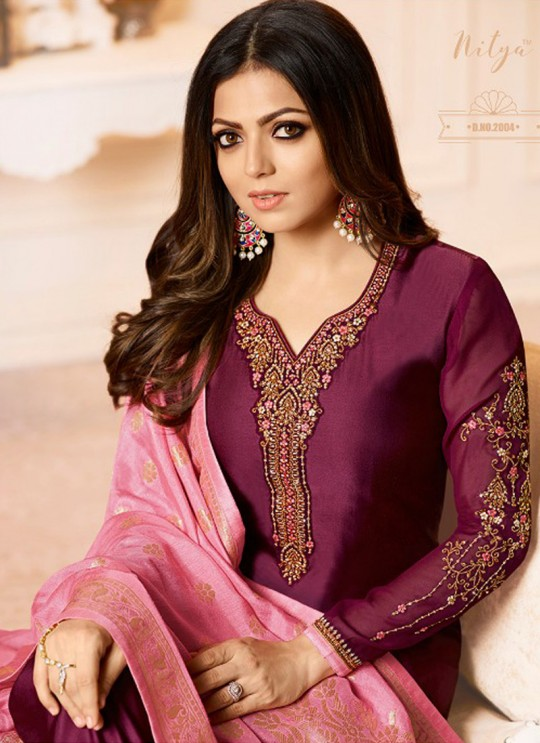 Drashti Dhami Magenta Embroidered Wedding Wear Churidar Suits Nitya Vol-120 2004 By LT Fabrics  SC/009973
