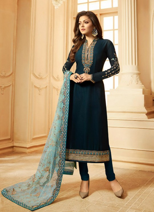 Drashti Dhami Blue Embroidered Wedding Wear Churidar Suits Nitya Vol 123 2306 By LT Fabrics SC/012050
