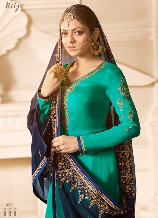 Drashti Dhami Sea Green Embroidered Wedding Wear Sharara Kameez Nitya Vol 125 2507 By LT Fabrics SC/012621