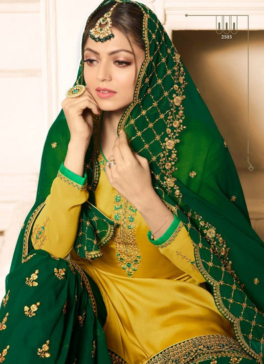 Drashti Dhami Yellow Embroidered Wedding Wear Sharara Kameez Nitya Vol 125 2503 By LT Fabrics SC/012617