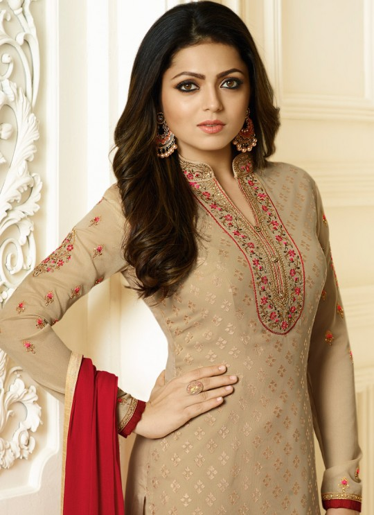 Drashti Dhami Beige Embroidered Festival Wear Churidar Suits Nitya Vol 127 2706 Set By LT Fabrics SC/012777