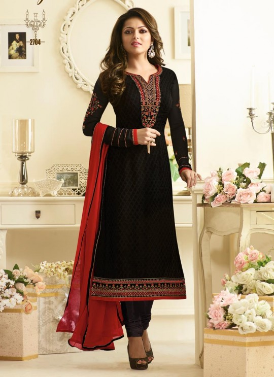 Drashti Dhami Black Embroidered Festival Wear Churidar Suits Nitya Vol 127 2704 Set By LT Fabrics SC/012777