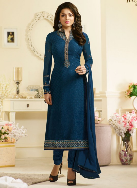 Drashti Dhami Blue Embroidered Festival Wear Churidar Suits Nitya Vol 127 2701 Set By LT Fabrics SC/012777