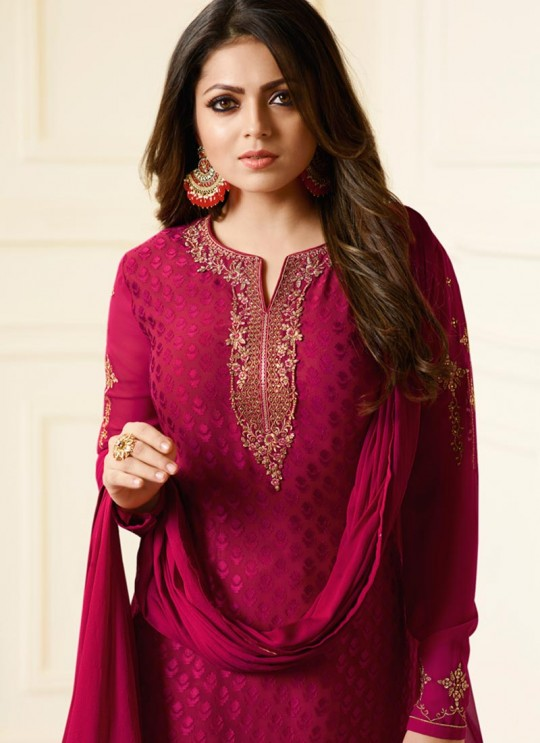 Drashti Dhami Magenta Embroidered Festival Wear Churidar Suits Nitya Vol 127 2703 Set By LT Fabrics SC/012777