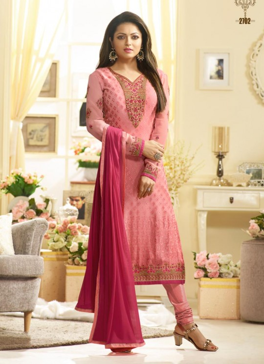 Drashti Dhami Pink Embroidered Festival Wear Churidar Suits Nitya Vol 127 2702 Set By LT Fabrics SC/012777