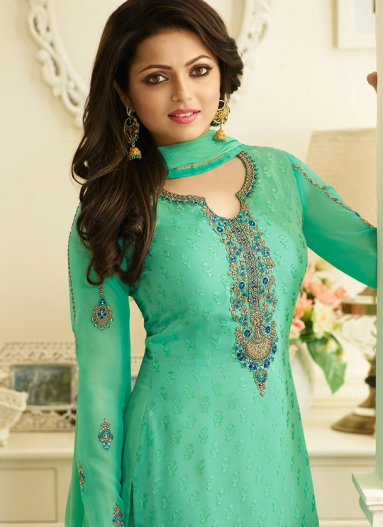 Drashti Dhami Sea Green Embroidered Festival Wear Churidar Suits Nitya Vol 127 2707 Set By LT Fabrics SC/012777