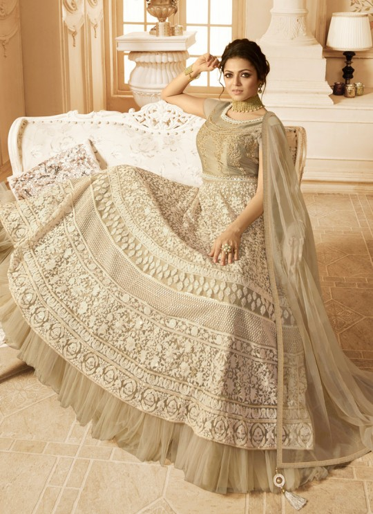 Drashti Dhami Beige Embroidered Wedding Wear Floor Length Anarkali Nitya Vol 128 2804 By LT Fabrics  SC/013150