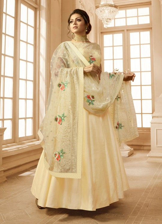 Drashti Dhami Cream Embroidered Wedding Wear Floor Length Anarkali Nitya Vol 128 2802 By LT Fabrics  SC/013148