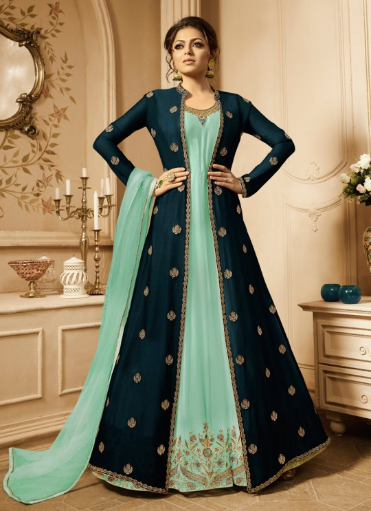Drashti Dhami Sea Green Embroidered Wedding Wear Anarkali With Jacket Nitya Vol 128 2805 By LT Fabrics  SC/013151