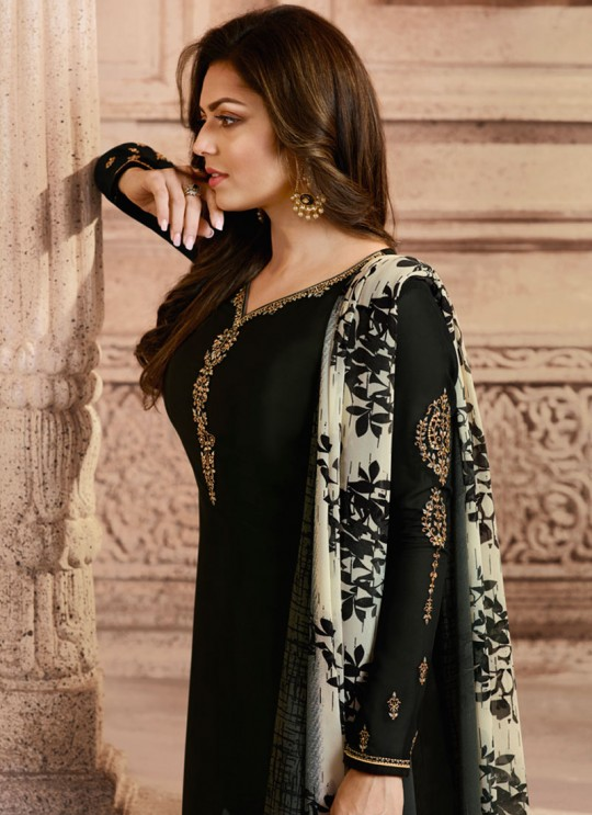 Drashti Dhami Black Embroidered Festival Wear Straight Suits Nitya Vol 129 2907 Set By LT Fabrics SC/013165